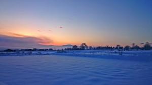 穂高有明の雪原